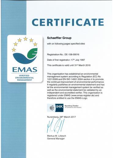 Certificado del Grupo Schaeffler